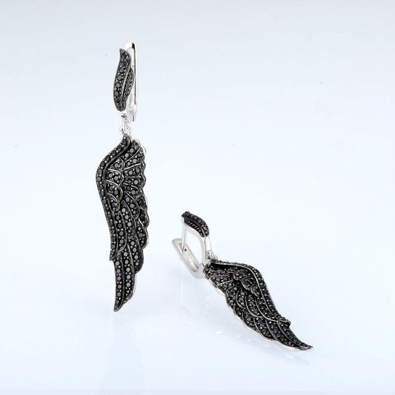 Boucles d'oreilles SANTUZZA argent noir aile d'ange pour les femmes 925 boucles d'oreilles en argent Sterling 925 zircon cubique brincos bijoux - 5
