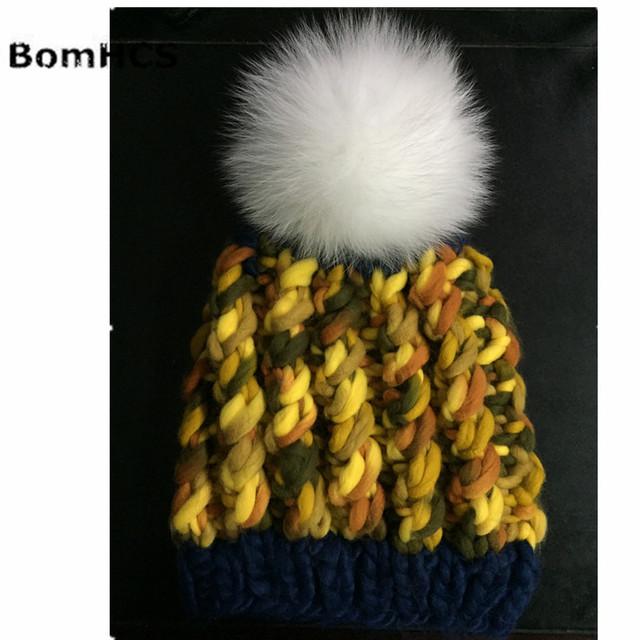 BomHCS Luxurious Big Fox Fur Pompom Belly Yarn Beanie Warm Caps 100% HANDMADE Women's Winter Knitted Hat