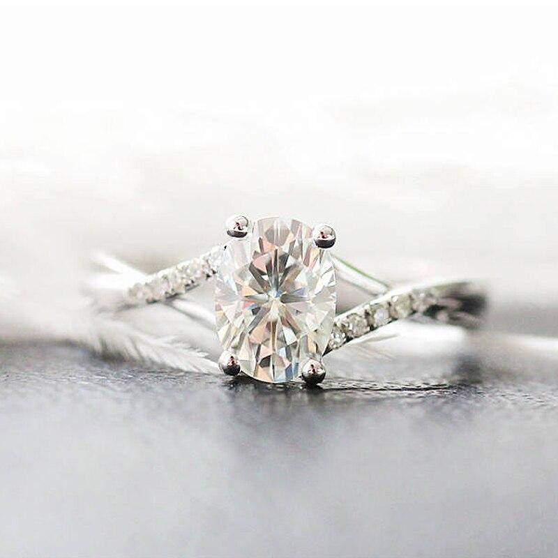 Wedding Ring Solid 14K White Gold 1.0ct 5x7mm Oval Cut Moissanite Engagement Ring Anniversary Ring Moissanite Ring For Women