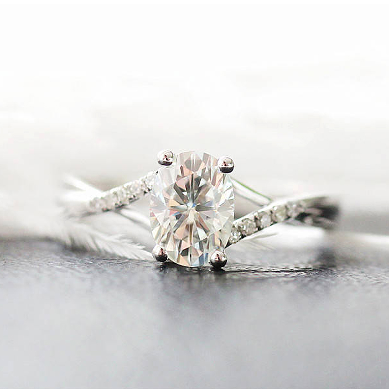 Wedding Ring Solid 14K White Gold 1.0ct 5x7mm Oval Cut Moissanite Engagement Ring Annive ...