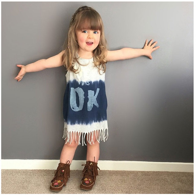 Toddler Girls Summer Tassel Dress Casual Letter Beautiful Baby Girl Party  Wear Dresses Infant Beach Dresses Girls Sundress d74355dc0a09