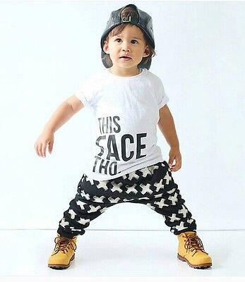 Cute Newborn Kids Baby Boy Clothes Casual T shirt Cross Pants 2pcs Outfits Set