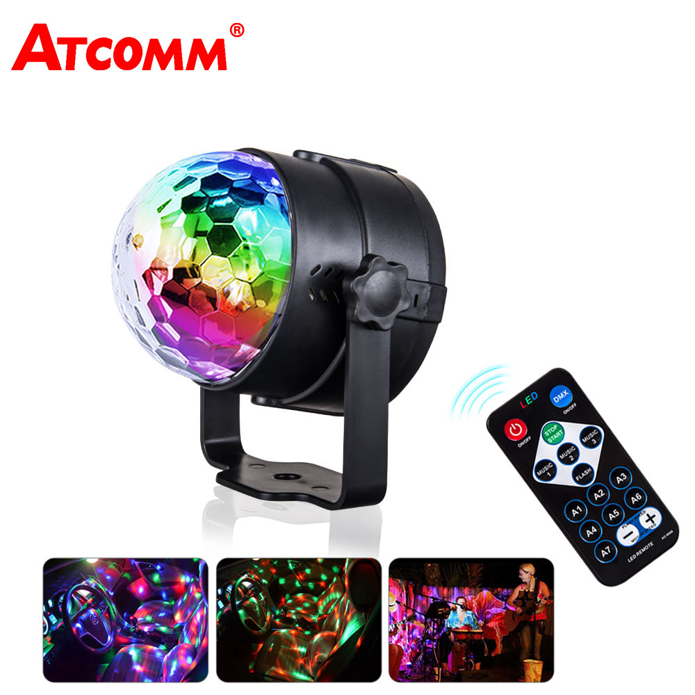 ATcomm LED RGB Car Crystal Magic Rotating Ball Stage Lights USB 5V Colorful Auto Decorative Party IR Remote Control Music LightATcomm LED RGB Car Crystal Magic Rotating Ball Stage Lights USB 5V Colorful Auto Decorative Party IR Remote Control Music Light