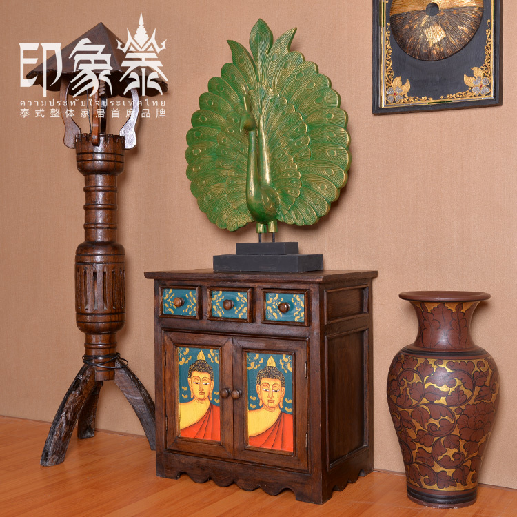 Online Shop Southeast Asian Small Decorative Furniture Imported From  Thailand Teak Hand Painted Figure Of Buddha Face Curio | Aliexpress Mobile