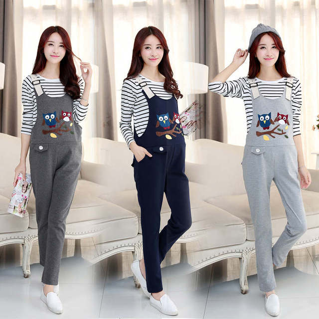 2017 Pregnant women pants Spring Autumn cartoon  Women`s Large Size Suspender Trousers Stay comfortable