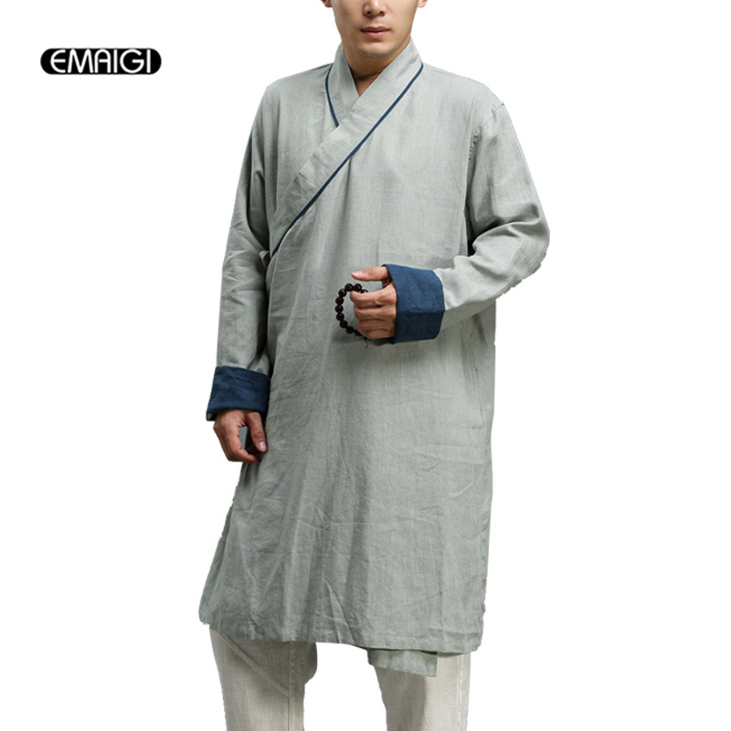 Men Long Coat Chinese Style High Quality Solid Color Linen Kungfu Jacket Male Comfort Kimono Overcoat Buddhist Monk Clothes Q596