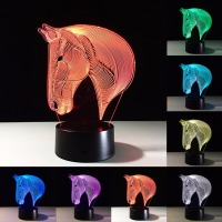 Nosii 3D 7 Color Change Horse Head Night Light Bedroom Sleep Lamp Home Decoration LED Light