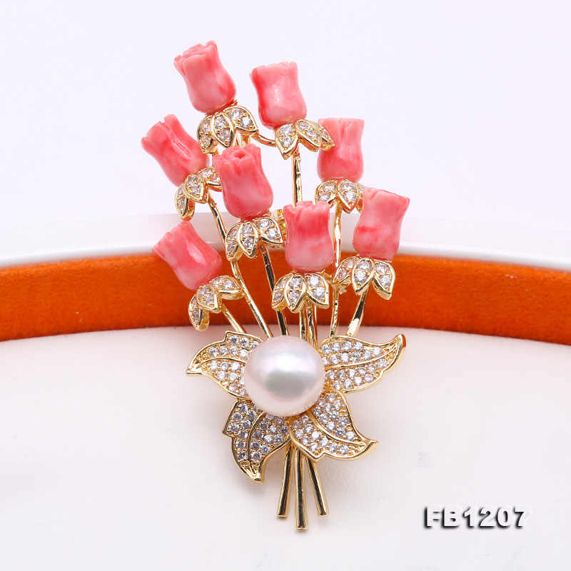 dd7981c4583 ... JYX Fine Women Brooches coral Pin with 10.5mm natural White Freshwater  Pearl coral brooch elegant ...