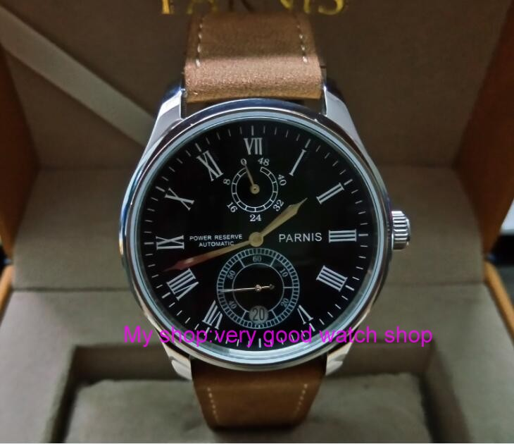 PARNIS 43mm black dial Automatic Self-Wind movement power reserve men's watch Mechanical watches wholesale GL214a parnis 43mm black dial automatic self wind movement power reserve men s watch mechanical watches wholesale gl17a