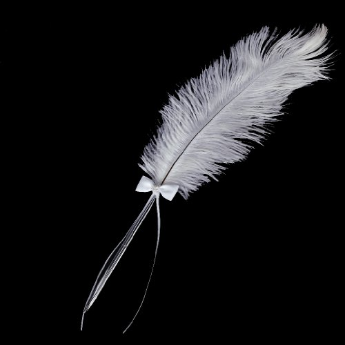 SOSW- Bowknot Wedding Signing Pen White Ostrich Feather Pen with Diamante