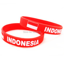 300pcs Flag Indonesia wristband silicone bracelets free shipping by DHL express(China)