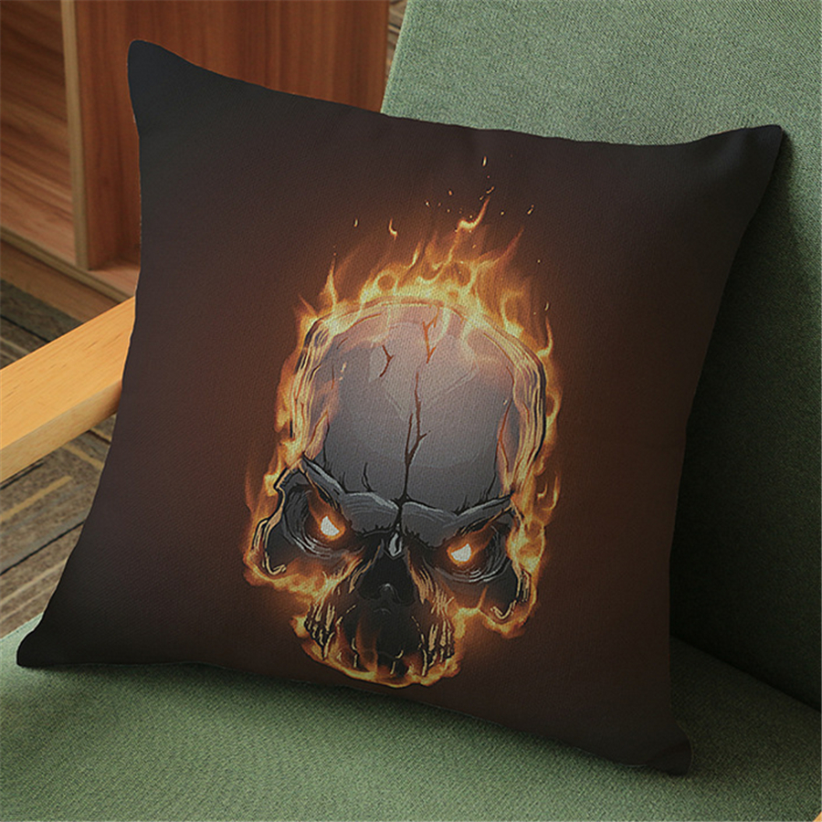 Home Textile Cushion Cover Yellow Pillowcase Halloween Skull Velvet Cushion Cover For Sofa Car Outdoor Chair Decorative Pillow Covers For Couch Pouf E684