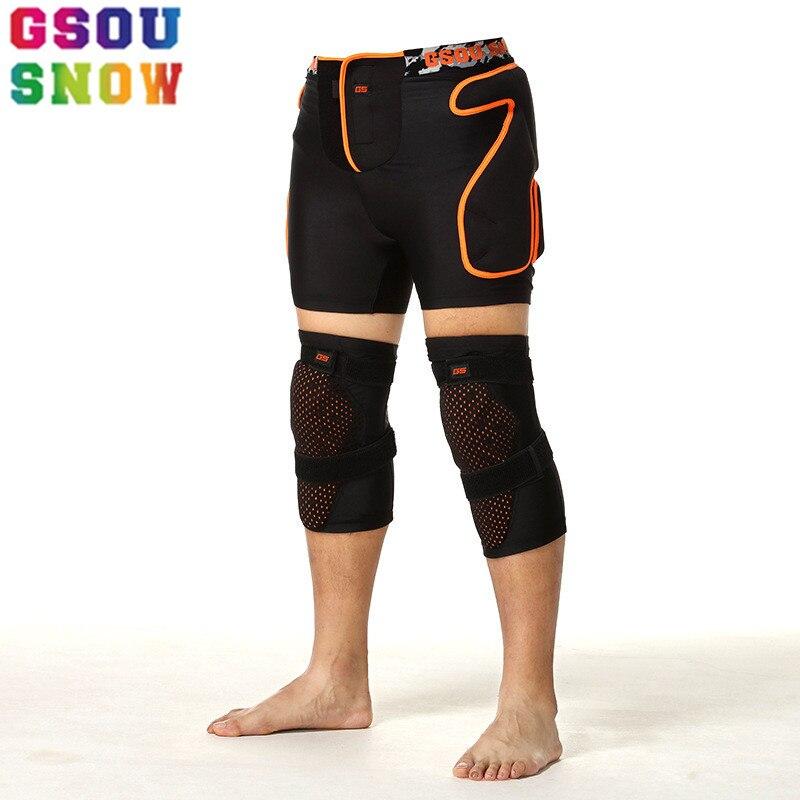 GSOU SNOW Brand Ski Pants Women Men Ski Protection/Skiing Knee+Hip Waterproof Anti-Falls Elastic Winter Outdoor Sport Skiwaer