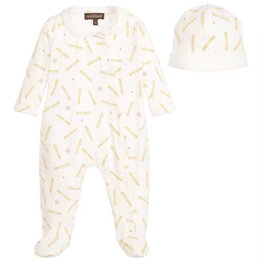 New Baby lapel Long sleeve romper suit Baby infant Letters printing bag feet jumpsuits Hat set