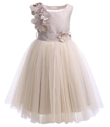 Cutestyles Girls Wedding Dress Sleeveless Flower Girl Party Dresses For Teenager Kids Champagne Clothes G DMGD908