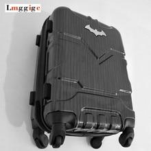 Сумка для багажа Бэтмена, чемодан на колесиках с замком, Мужская большая емкость пластиковая жесткая дорожная коробка, 20 «24» 28 «дюймов переноски
