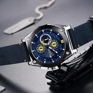 Image 3 - MEGIR niebieski kwarc mężczyźni zegarki Top marka skórzany z chronografem na pasku Sport Wrist Watch mężczyźni zegar Relogio Masculino Reloj Hombre