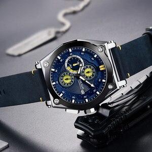 Image 3 - ساعات رجالي من MEGIR باللون الأزرق كوارتز بحزام جلدي من العلامة التجارية الأعلى ساعة معصم رياضية كرونوغراف للرجال ساعة رجالية