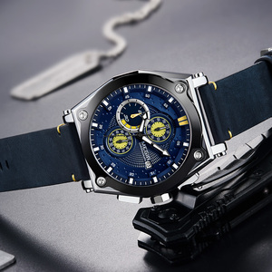 Image 3 - Megir 블루 쿼츠 남자 시계 톱 브랜드 가죽 스트랩 크로노 그래프 스포츠 손목 시계 남자 시계 relogio masculino reloj hombre
