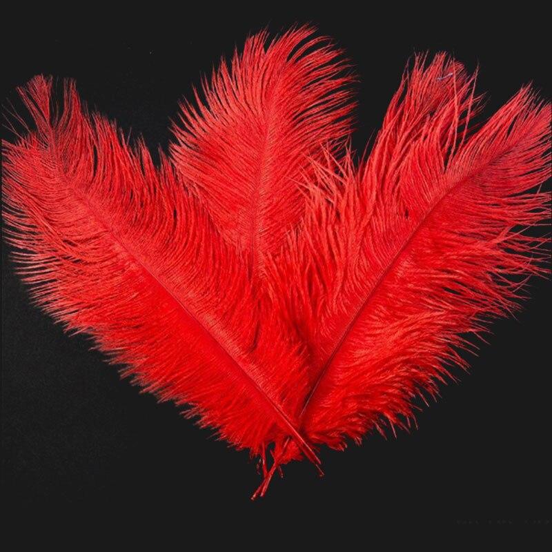 10 шт. перьев из страуса, натуральный центральный, 4 цвета, Рождественский домашний Свадебный декор - Цвет: rose red