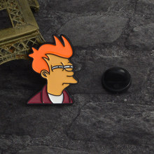 Popular Cartoon Cute Futurama Philip J. Fry Hard Enamel Pin TV Show Badges Brooches Pins For Men Women Friends Gifts(China)