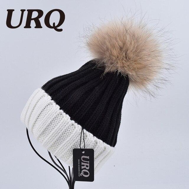 URQ  Sombrero de piel de Mapache de Punto Grande Pom Pom Sombrero de Mujer 979f717b957