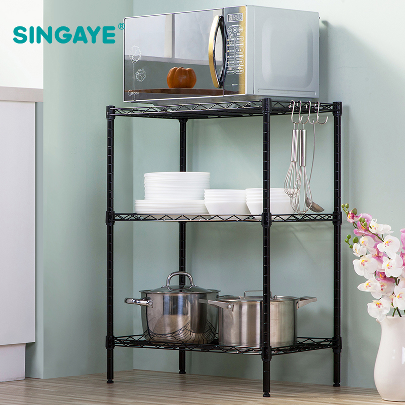 LANGRIA Modern 6 Tier Wire Shelving Unit with Baskets Free Standing ...