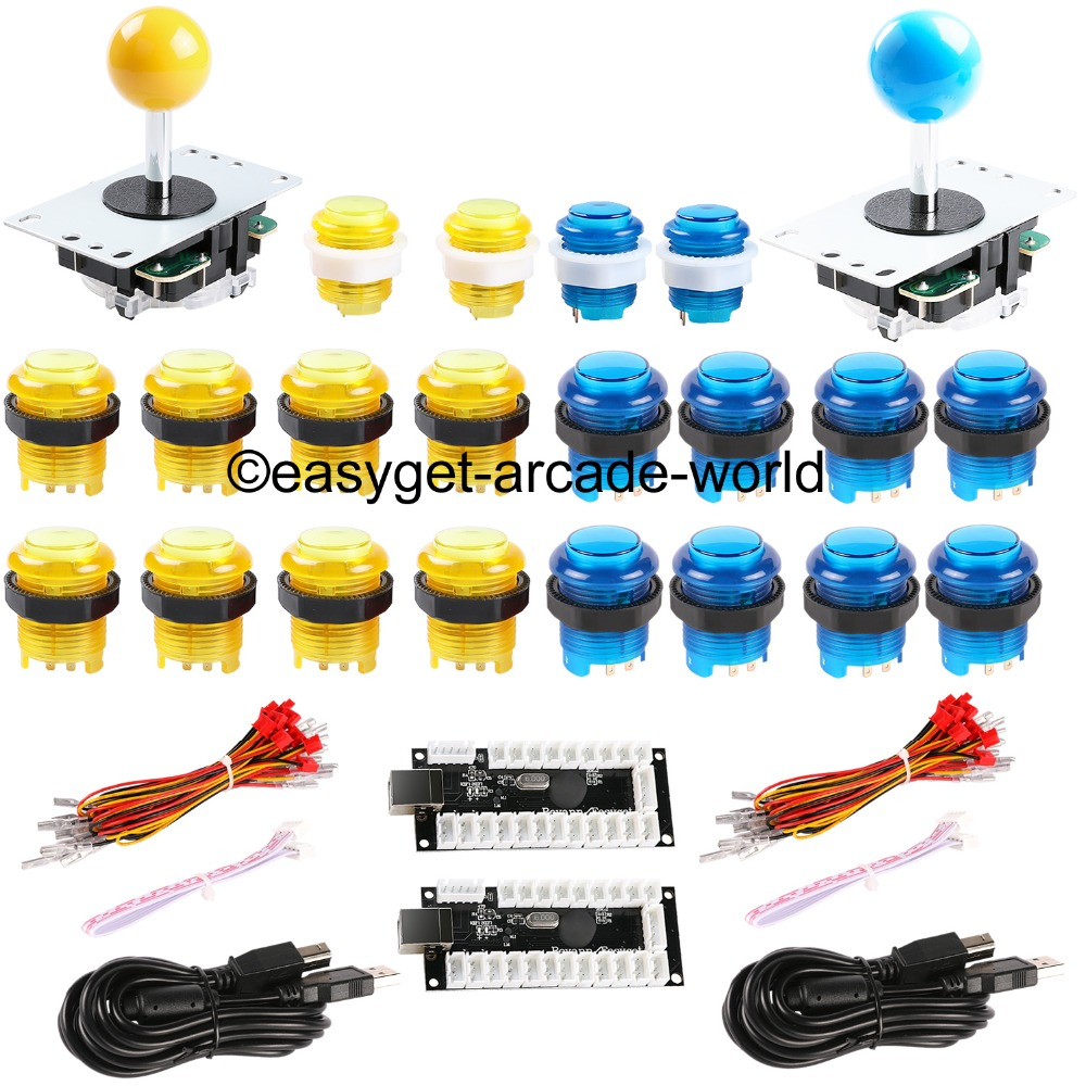 Las piezas del kit de bricolaje Arcade Zero Delay Codificador USB para PC Joystick + 20x LED Arcade Button Wire para Mini Arcade Machines - Amarillo + Azul