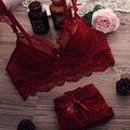 Hot 2017 sexy lace conjunto de sutiã fina plus size lingerie sexy ultra-fino conjunto de sutiã A B C D Push Up Bra E Cuecas das Mulheres conjunto