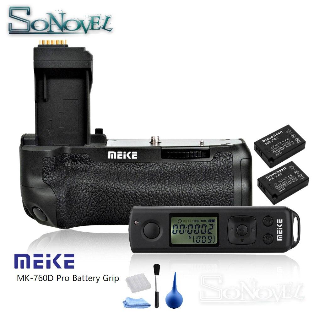 Meike MK-760D Pro Sans Fil Télécommande Poignée De Batterie Verticale pour Canon 750D 760D Rebelles T6i T6s comme BG-E18 + 2 pièces LP-E17 Batterie