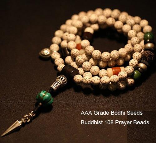 Bienheureux Mala tibétain Designer Mala AAA Grade tibétain graines Mala bouddhiste 108 perles de prière bouddhiste chapelet perles