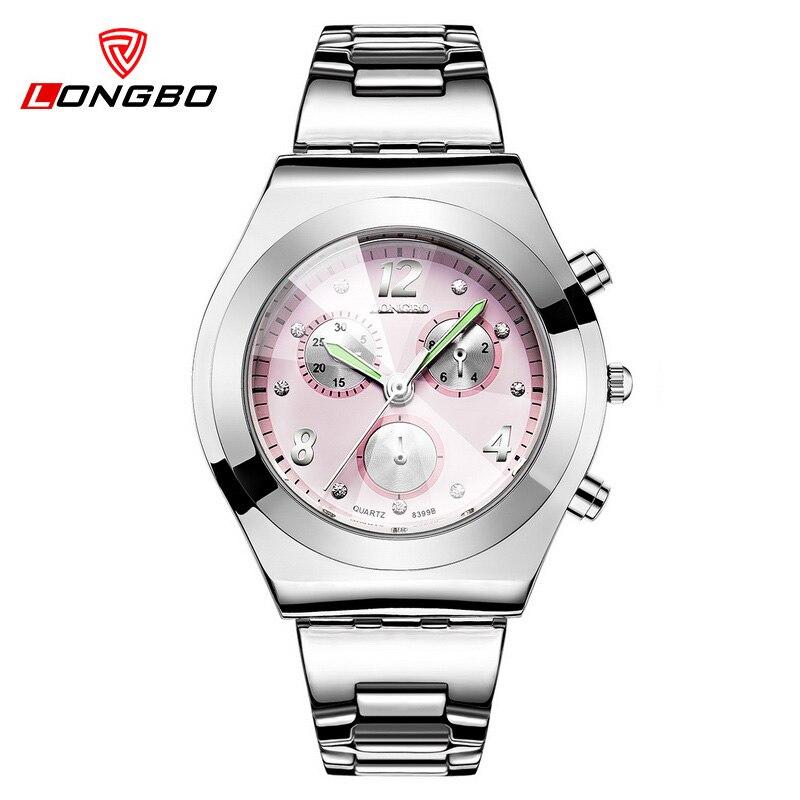 LONGBO Women Watches Famous Brand Ladies Quartz Watch Full Steel Dress Wristwatch With Crystals Fahion Reloj