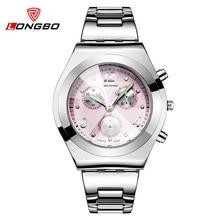LONGBO Женщины Часы Известная Марка Дамы Кварцевые Часы Полная Сталь Платье Наручные Часы С Кристаллами Reloj Mujer Fahion Горячий Продавать