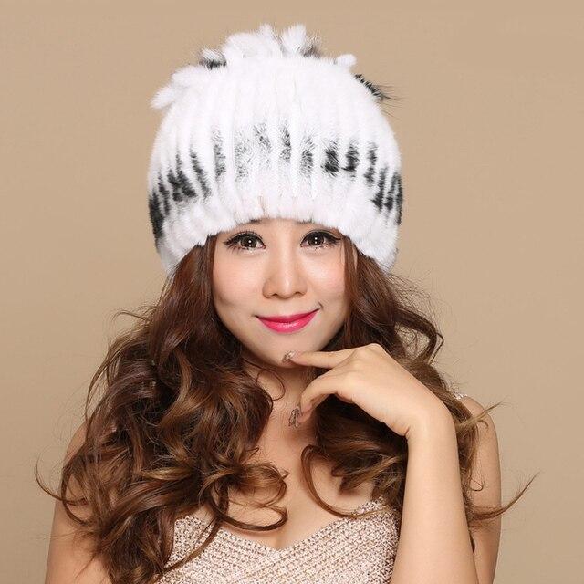 Mujeres sombreros para las mujeres piel Real de punto invierno Gorros  Beanie mujer rusa sombrero mujer a5fa4267142