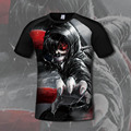 New Fashion Anime T-shirt Men Summer Tops Short Sleeve Tokyo Ghoul 3d Print T-shirt High Quality Printed Hipster Tops Tees Homme