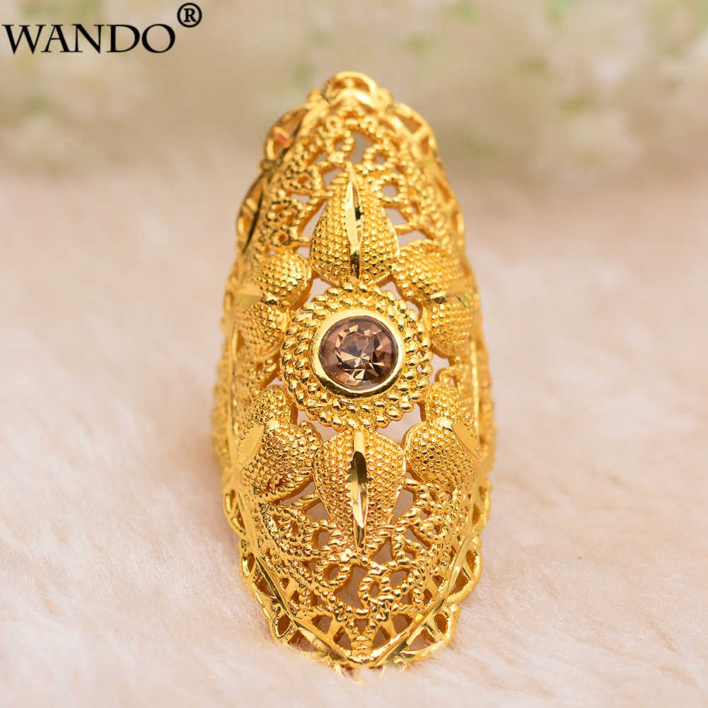 Wando  New Ethiopian brown Stone Wedding Ring for Women Gold Color Ring Eritrea Africa Fashion Ring Middle East Jewelry