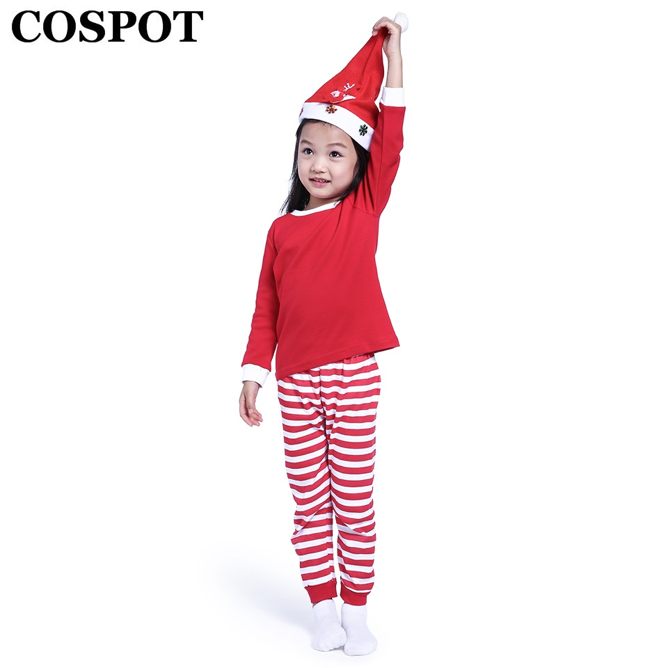 cospot baby girls boys christmas pajamas set kids striped xmas cotton pjs children clothing set family christmas suit 2018 30e