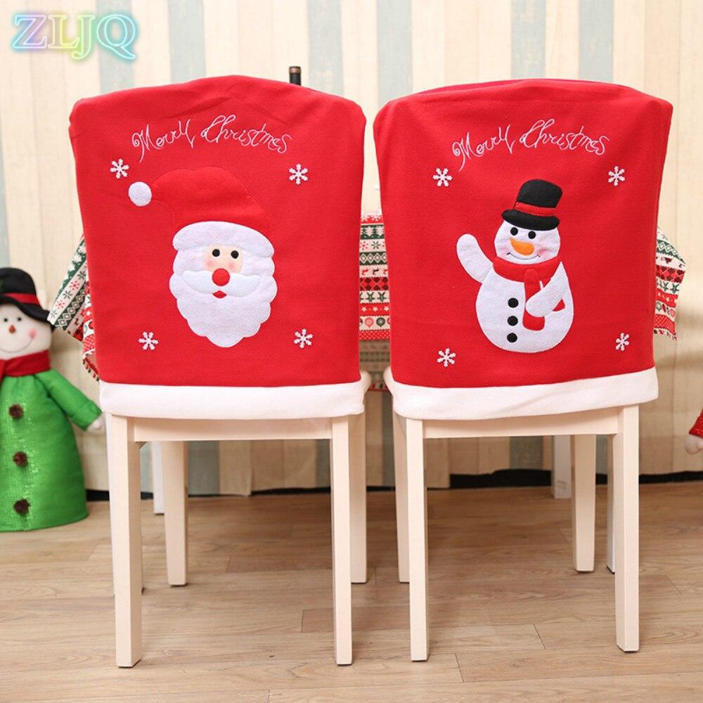 Christmas chair covers - Zljq Christmas Chair Covers Xmas Santa Claus Embroidery Chair Cover Creative Christmas Decor Party Supplies Navidad