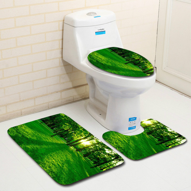 Zeegle Tree Pattern 3pcs Bathroom Carpets Set Anti Slip Floor Rugs Rug Microfiber Bath