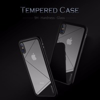 For IPhone X Tempered Glass Back Cover Phone Case Nillkin 9H Hard Luxury Flexible Silicone Edge
