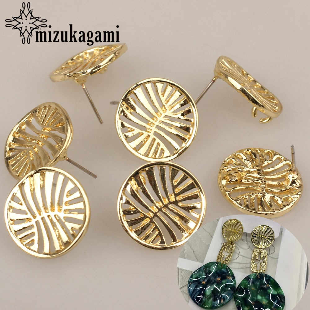 18mm 6pcs/lot Gold Zinc Alloy Fashion Round Hollow Flowers Base Earrings Connector For DIY Fashion Earrings Jewelry Accessories