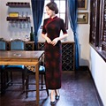 Free Shipping Chinese Traditional Clothes Long Qipao for women Faux Velvet Chinese Cheongsam Dress