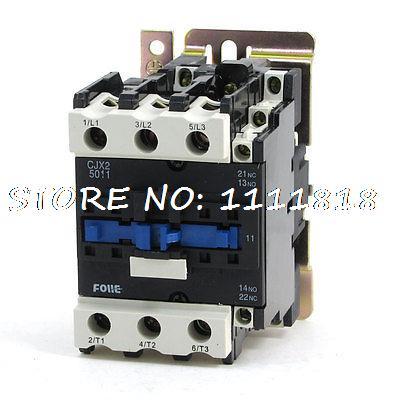 220V 50/60Hz Coil Motor Control 3P 1NO 1NC AC Contactor CJX2-5011 new lp2k series contactor lp2k06015 lp2k06015md lp2 k06015md 220v dc