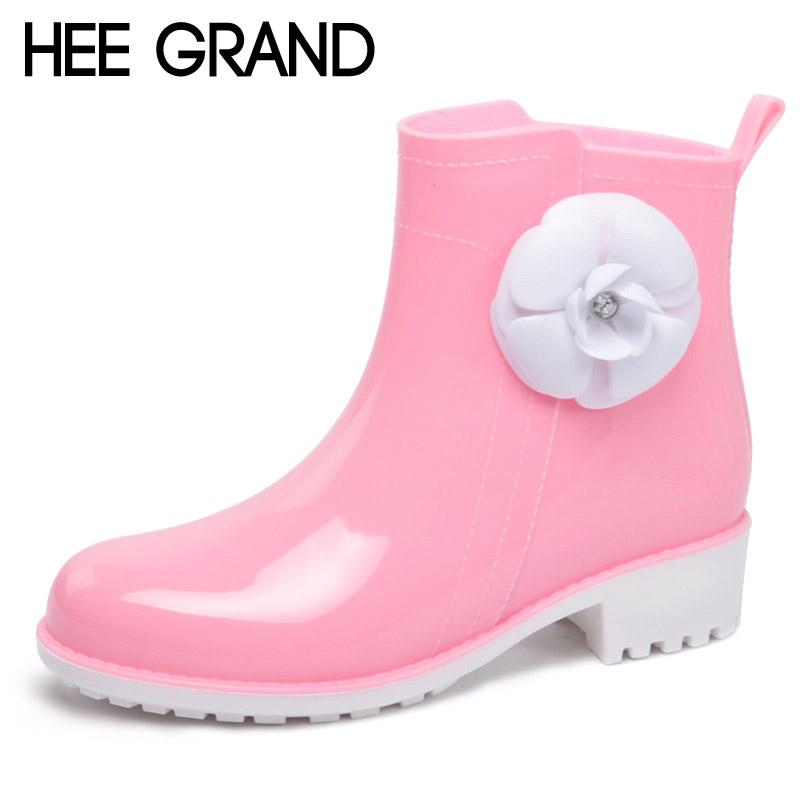 HEE GRAND Rain Boots Rubber Candy Colors Women Ankle Boots Flowers Platform Shoes Woman Casual Slip On Flats Women Shoes XWX4910 free shipping beautifully design rain boots women ankle boots casual platform shoes woman slip on creepers casual flats shoes