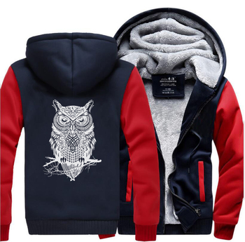 Animal Owl Funny Jackets New Style Winter Warm Fleece Sweatshirt Men