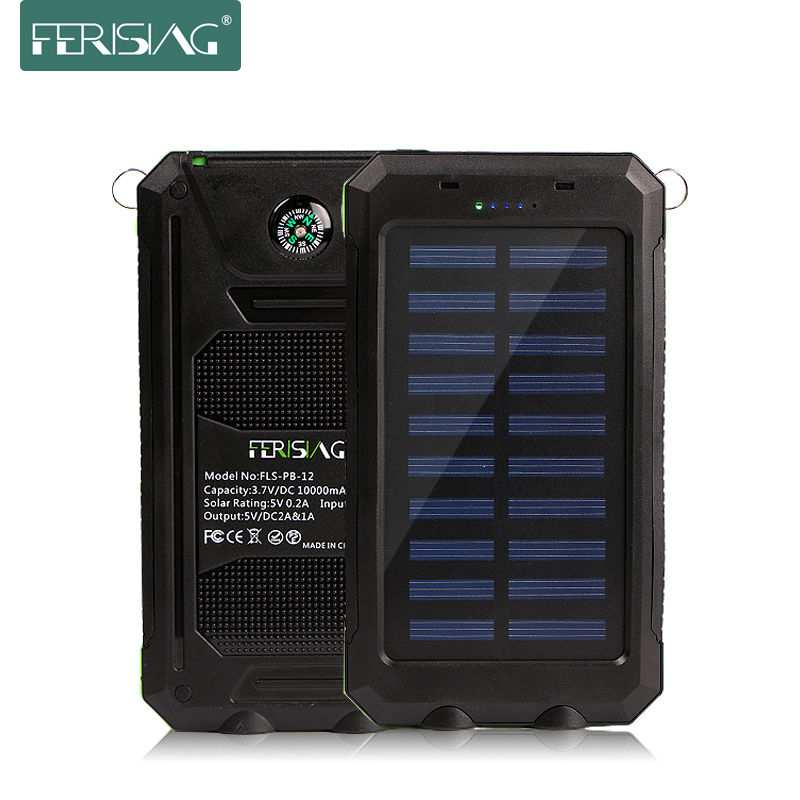 imágenes para Banco de la energía solar a prueba de agua real 10000 mah powerbank polímero cargador de batería externa dual del usb luz de la lámpara al aire libre ferising pb-12