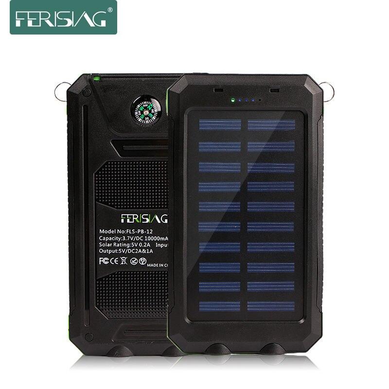 bilder für Wasserdichte solarenergienbank echt 10000 mah dual usb externe polymer-akku-ladegerät außenleuchte licht power ferising pb-12