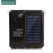 Waterproof Solar Power Bank Настоящее 10000 мАч Dual USB Внешний Полимерный Аккумулятор Зарядное Устройство Открытый лампы Свет Powerbank Ferising PB-12