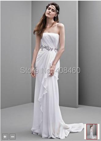 Strapless Crinkle Chiffon Column Gown Style Vw351234 Wedding Dress