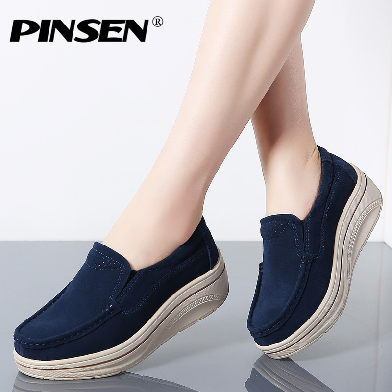 PINSEN 2019 Spring Women Flats Shoes Platform Sneakers Shoes Woman   Leather     Suede   Casual Shoes Slip-on Flats creepers moccasins